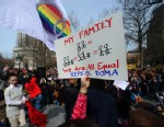 PHOTO: Marriage equality supporters take part in a march and rally ahead of US Supreme Court arguments on legalizing same-sex marriage in New York on March 24, 2013.