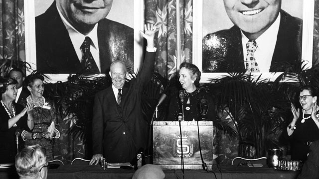 PHOTO: US President Dwight Eisenhower waves from the stage at a re-election campaign event in this March 6, 1956 file photo.