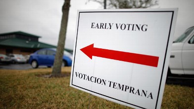 PHOTO: A sign lets voters know they can cast early ballots for the Floriday primary election at the South Creek Branch Library Jan. 27, 2012 in Orlando, Florida.