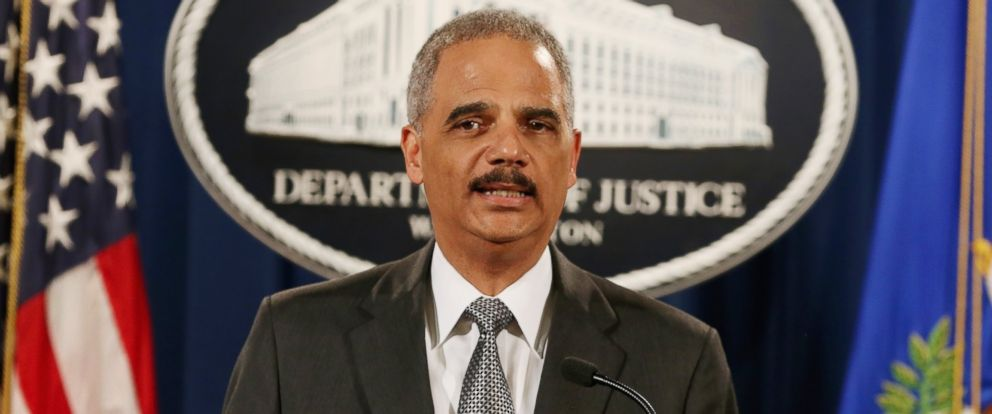 PHOTO: Attorney General Eric Holder speaks at the Justice Department on Dec. 3, 2014 in Washington, DC.
