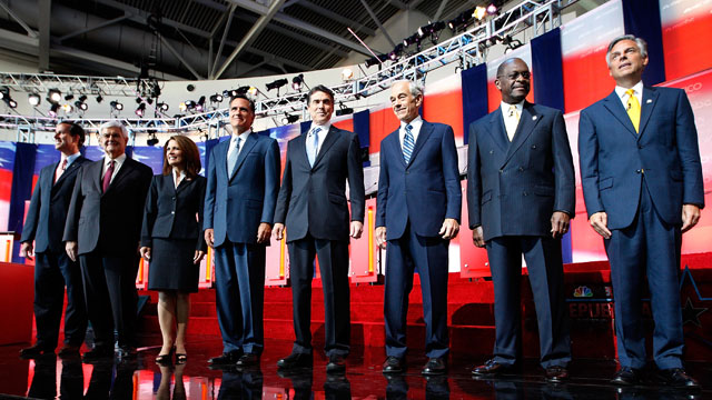 PHOTO: Candidates Rick Santorum, Newt Gingrich, U.S. Rep. Michele Bachmann (R-MN), Mitt Romney, Texas Gov. Rick Perry, U.S. Rep. Ron Paul (R-TX), Herman Cain and Jon Huntsman, Jr.