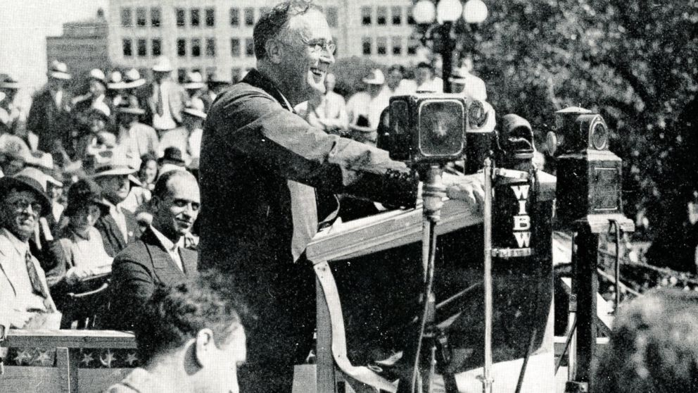 Franklin Delano Roosevelt in Topeka, Kansas on the 1932 campaign trail.