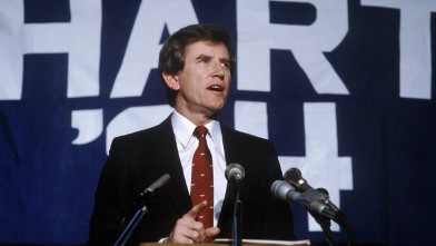 PHOTO: Politician Gary Hart speaks after he finding out he has won the primary in New Hampshire for the presidential election in this Feb. 28, 1984 file photo in Boston, Massachusetts.