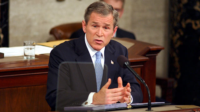 PHOTO: President George W. Bush during his first State of the Union address to a joint session of Congress, Jan. 29, 2002.