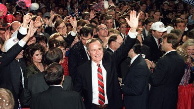 PHOTO: President-elect George Bush wades through the crowd following his acceptance speech at the Brown Convention Center in Houston in this Nov. 8, 1988 file photo.