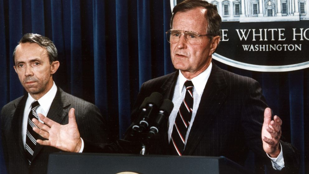 George H. W. Bush at the White House in Washington, July 23, 1990.