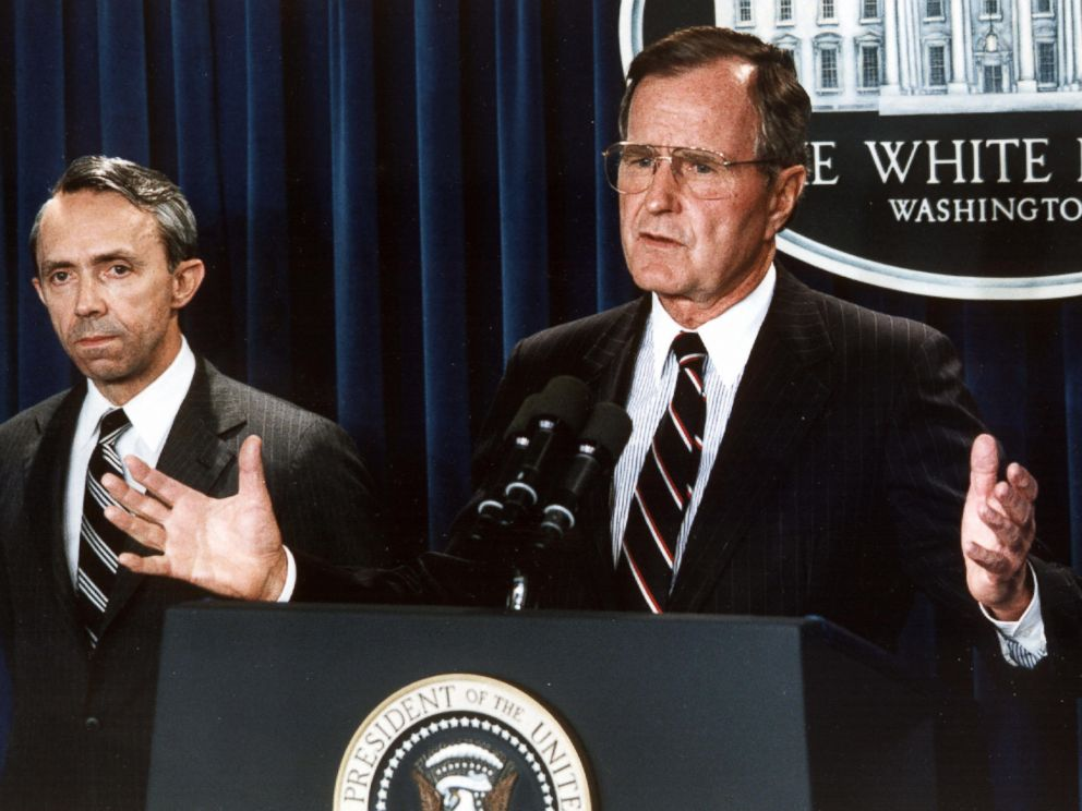 PHOTO: George H. W. Bush at the White House in Washington, July 23, 1990.