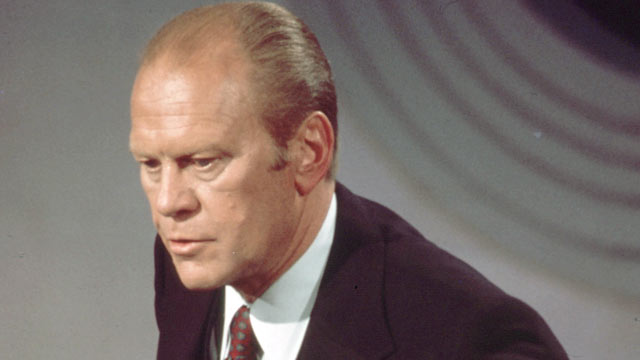 PHOTO: President Gerald Ford speaks at his first televised presidential debate with candidate Jimmy Carter in this Sept. 23, 1976 file photo in Philadelphia, PA.