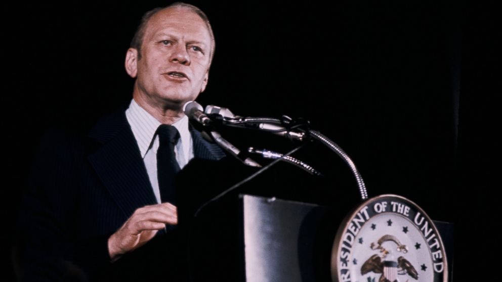 Gerald Ford at a press conference, 1974.