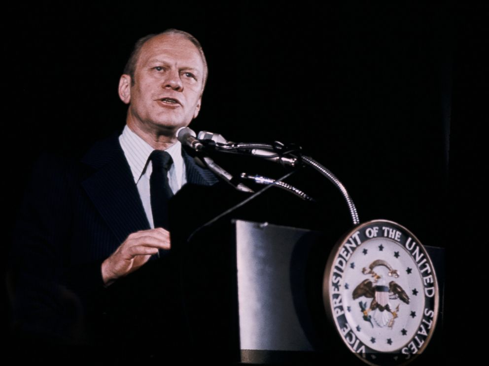 PHOTO: Gerald Ford at a press conference, 1974.