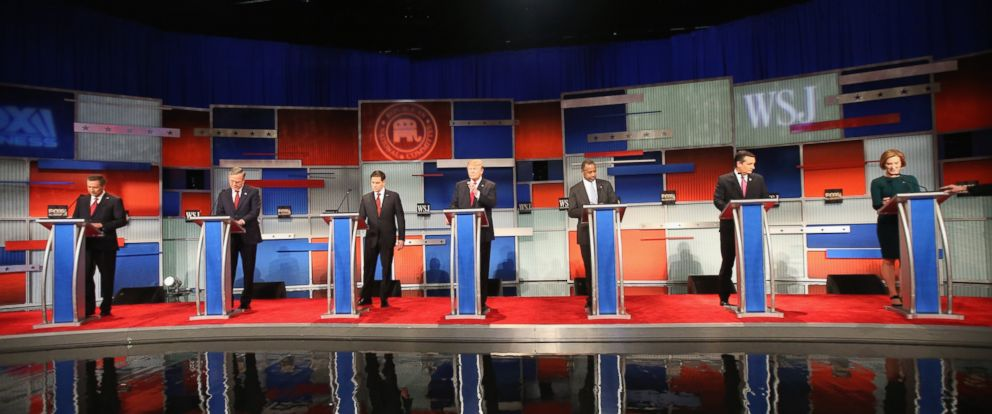 PHOTO: Presidential candidates Ohio Governor John Kasich , Jeb Bush, Sen. Marco Rubio , Donald Trump, Ben Carson, Ted Cruz , and Carly Fiorina take the stage in the Republican Presidential Debate, Nov. 10, 2015 in Milwaukee, Wisconsin.