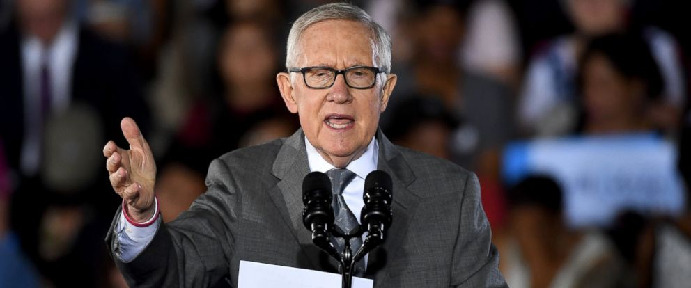 PHOTO: U.S. Senate Minority Leader Harry Reid speaks at a campaign rally for Democratic presidential nominee Hillary Clinton at Cheyenne High School on Oct. 23, 2016 in North Las Vegas, Nevada.