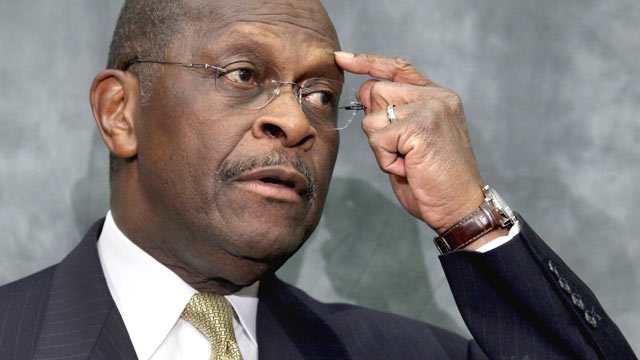 PHOTO: Republican presidential candidate and former CEO of Godfathers Pizza Herman Cain participates in a discussion with members of the Congressional Health Care Caucus on Capitol Hill, Washington, DC, Nov. 2, 2011.