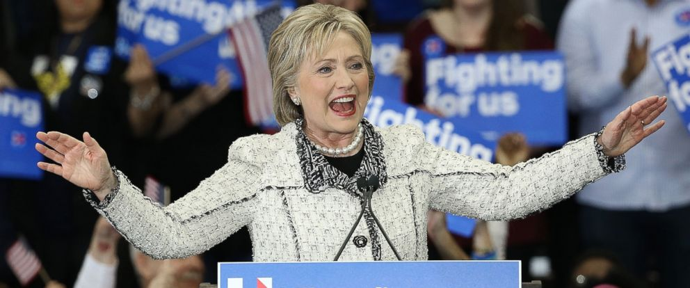 PHOTO: Democratic presidential candidate former Secretary of State Hillary Clinton gives a victory speech to supporters at an event on Feb. 27, 2016, in Columbia, South Carolina.