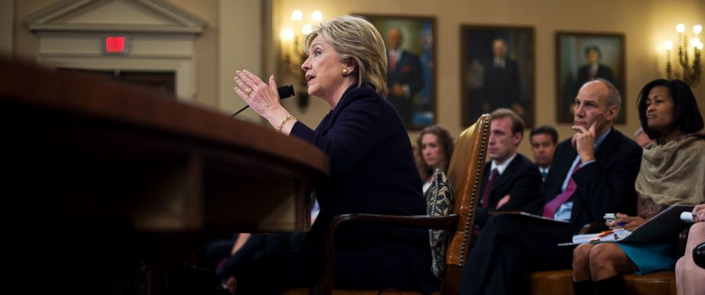 PHOTO: Former Secretary of State Hillary Clinton testifies during a House Select Committee on Benghazi hearing in Longworth Building, Oct. 22, 2015.