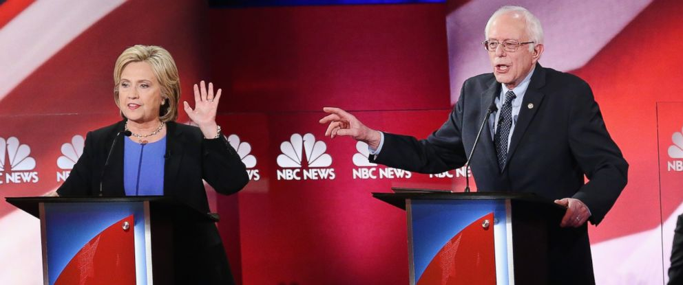 PHOTO: Democratic presidential candidates Hillary Clinton and Sen. Bernie Sanders at the Democratic Candidates Debate hosted by NBC News and YouTube on Jan. 17, 2016, in Charleston, South Carolina.