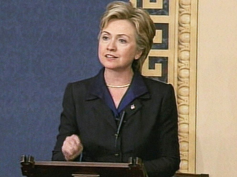 PHOTO: Then U.S. Senator Hillary Rodham Clinton is seen in this still from video as she speaks during a debate on Joint Resolution 114 to support President Bush in the use of force against Iraq, Oct. 11, 2002 in Washington, D.C.