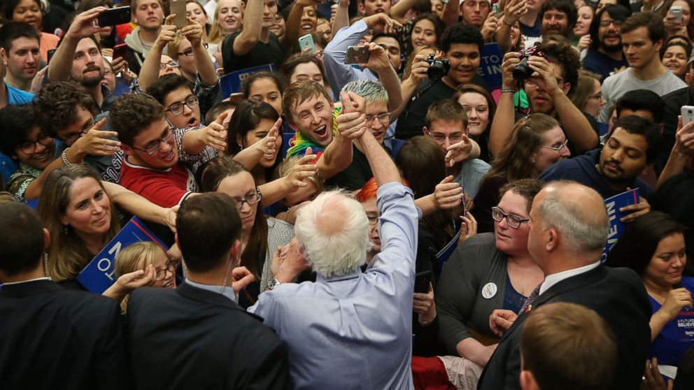 Presidential candidate Bernie Sanders shakes hands with people during a campaign rally at the Century Center on May 1, 2016 in South Bend, Indiana.