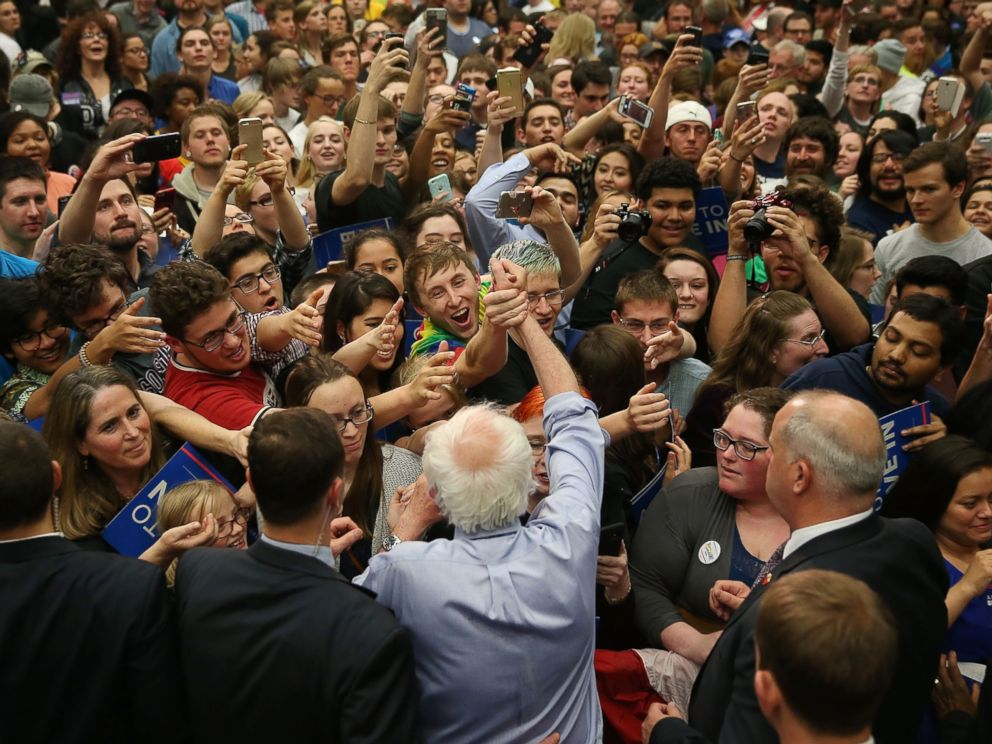 PHOTO: Presidential candidate Bernie Sanders shakes hands with people during a campaign rally at the Century Center on May 1, 2016 in South Bend, Indiana.