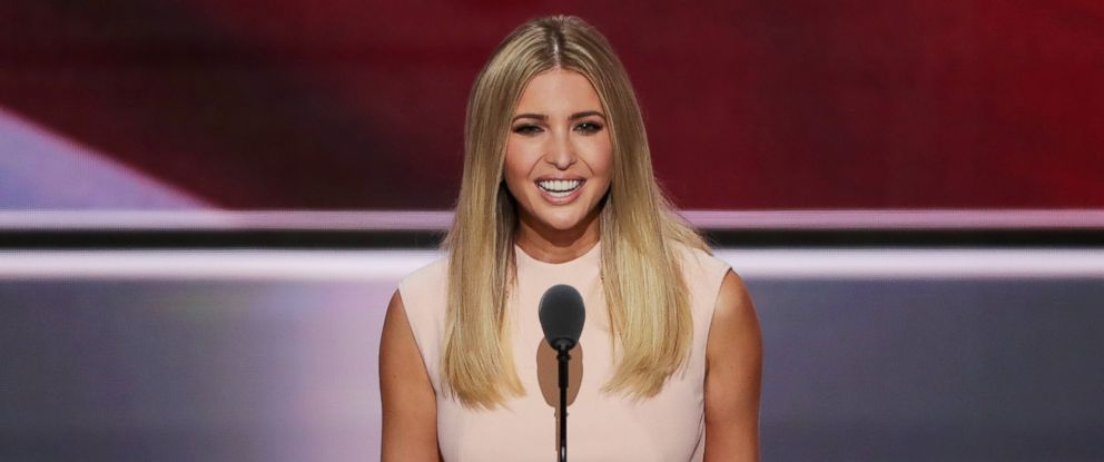 PHOTO: Ivanka Trump delivers a speech during the evening session on the fourth day of the Republican National Convention, July 21, 2016, at the Quicken Loans Arena in Cleveland, Ohio.