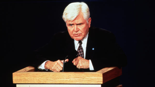 PHOTO: Former Admiral James Stockdale, the running mate of the Reform Party candidate, Ross Perot, speaks during the Vice-presidential debate in this Oct. 13, 1992 file photo.