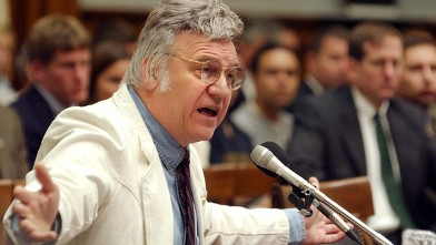 PHOTO: Rep. James Traficant, D-Ohio, testifies at a hearing of the House Ethics Committee. The Committee found Traficant guilty of 9 counts violating House rules and recommended expulsion from Congress, July 18, 2002.