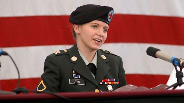 PHOTO: Jessica Lynch speaks to press July 22, 2003 in Elizabeth, W.V.