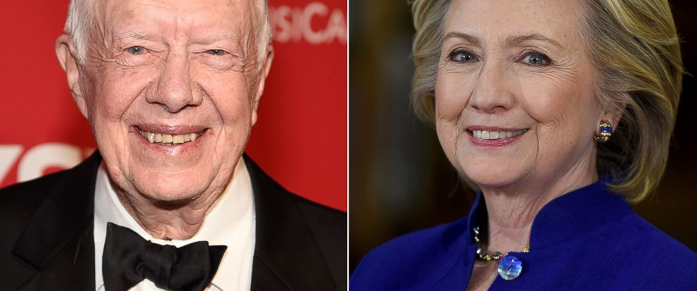 PHOTO: Former Democratic President Jimmy Carter and former Sec. of State Hillary Clinton.