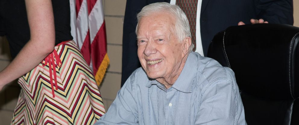 "PHOTO: Former President Jimmy Carter signs copies of ""A Full Life Reflections At Ninety"" at Bookends Bookstore on July 8, 2015, in Ridgewood, New Jersey."