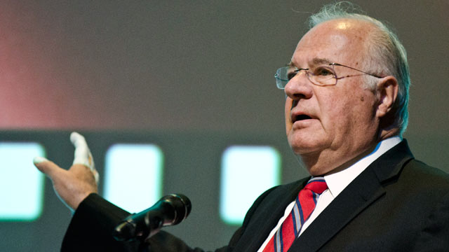 """PHOTO: Joe Ricketts speaks during the premiere of """"The Conspirator"""" presented by The American Film Company, Fords Theatre and Roadside Attractions at Fords Theatre on April 10, 2011 in Washington, DC."""