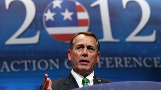 PHOTO: U.S. Speaker of the House Rep. John Boehner (R-OH) addresses the annual Conservative Political Action Conference (CPAC) Feb. 9, 2012 in Washington, DC.