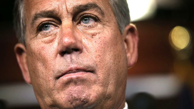PHOTO: U.S. Speaker of the House Rep. John Boehner (R-OH) speaks during his weekly news conference June 6, 2013 on Capitol Hill in Washington, DC.