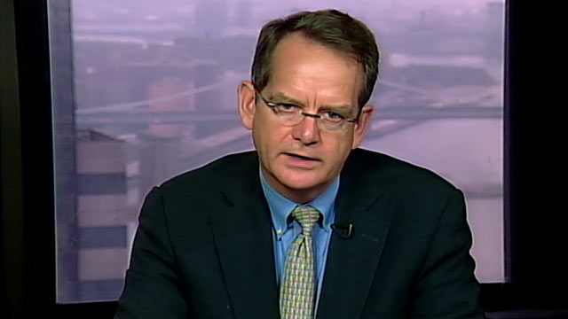 "PHOTO: Standard & Poors Managing Director, John Chambers is interviewed on ""This Week."""
