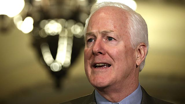 PHOTO: Senate Minority Whip Senator John Cornyn, R-Texas, speaks members of the media after a Republican Policy luncheon June 11, 2013 on Capitol Hill in Washington, D.C.