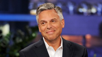 PHOTO: Former Governor Jon Huntsman appears on the Tonight Show With Jay Leno at NBC Studios on February 7, 2012 in Burbank, California.