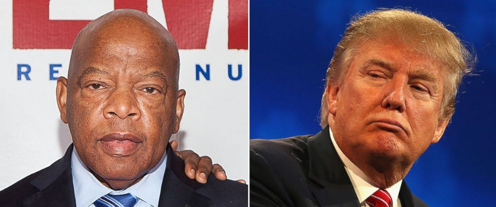 PHOTO: Rep. John Lewis at the premiere of Selma at The Newseum on Dec. 11, 2014 in Washington. Presidential candidate Donald Trump pauses during the Republican Presidential Debate on Oct. 28, 2015 in Boulder, Colo.