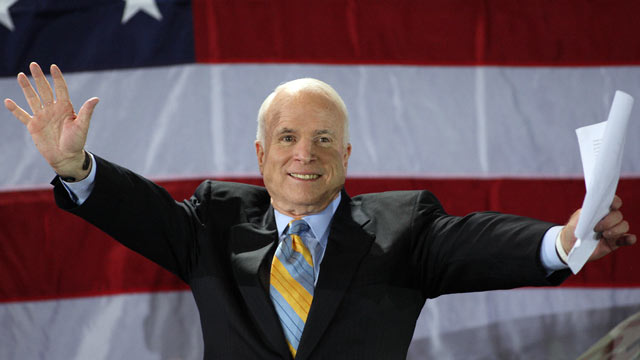 PHOTO: Arizona Senator and Republican presidential hopeful John McCain celebrates his victory in the Florida Republican Presidential Primary in this Jan. 29, 2008 file photo in Miami, FL.
