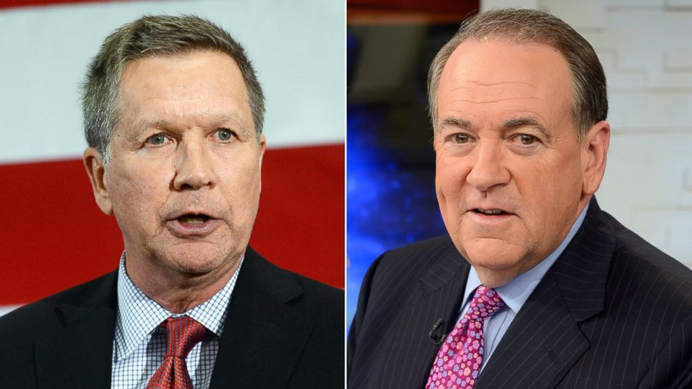 """John Kasich speaks at an event in Nashua, N.H. on April 18, 2015 and Mike Huckabee appears on """"Good Morning America"""" on May 6, 2015."""
