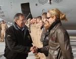 PHOTO: Leon Panetta and female Marine Corps pilot
