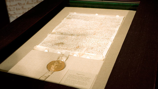 PHOTO: An original copy of the Magna Carta is on display at Sotheby's Dec. 7, 2007 in New York City.