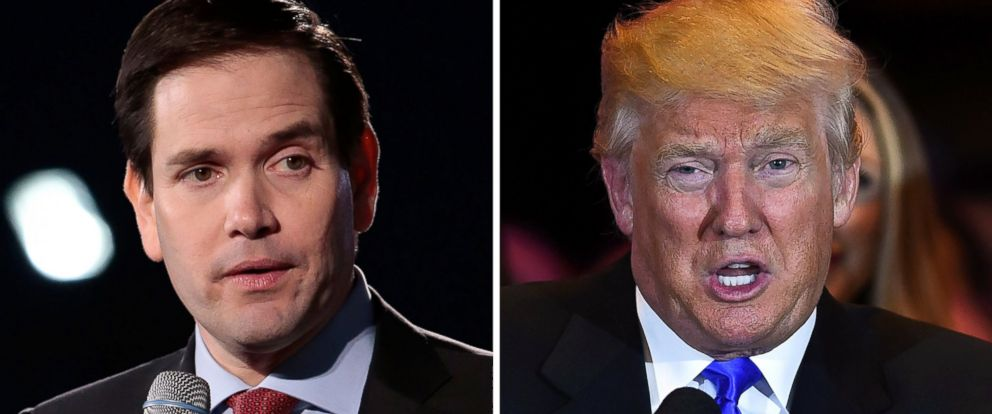 PHOTO: Senator Marco Rubio speaks in Alabama, Feb. 27, 2016 and Donald Trump speaks in Indiana, May 3, 2016.
