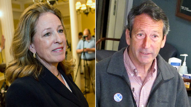 PHOTO: Elizabeth Colbert Busch, sister of comedian Stephen Colbert, who is running as a Democrat for the first Congressional District, holds a press conference, Feb. 11, 2013, in Charleston, S.C.; Former South Carolina Gov. Mark Sanford speaks with report