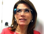 PHOTO: US Representative and former presidential candidate Michele Bachmann, Republican of Minnesota, tries Google Glass after leaving a meeting Republican Party Caucus on Capitol Hill on May 15, 2013.