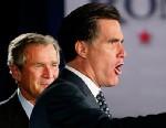PHOTO: Former President George W. Bush, left, stands beside presidential hopeful Mitt Romney in Boston, Mass., in this file photo.