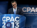 PHOTO: Former Massachusetts Governor Mitt Romney delivers remarks during the second day of the 40th annual Conservative Political Action Conference, March 15, 2013, in National Harbor, Maryland.