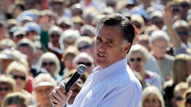 PHOTO: Republican presidential candidate Mitt Romney speaks during a rally with supporters at Pioneer Park on Jan. 30, 2012 in Dunedin, Florida.