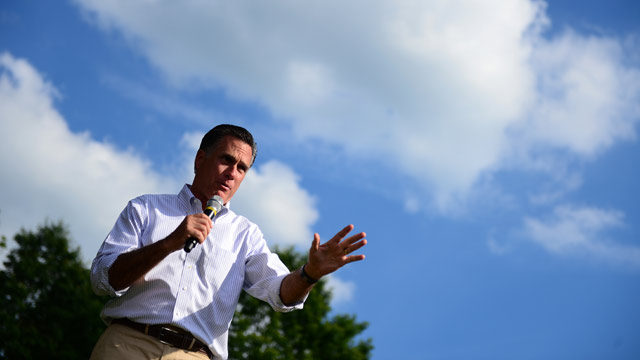 PHOTO: US presidential hopeful Mitt Romney addresses a campaign rally at Cornwall Iron Furnace in Cornwall, Pennsylvania, June 16, 2012.