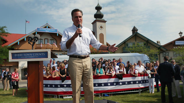 PHOTO: Republican presidential candidate Mitt Romney speaks during a campaign event at a rally in front of the Bavarian Inn Lodge on June 19, 2012 in Frankenmuth, Michigan.