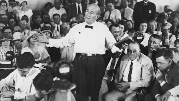PHOTO: American lawyer and politician William Jennings Bryan argues for the prosecution during the Scopes Monkey Trial, Dayton, Tenn. in 1925.