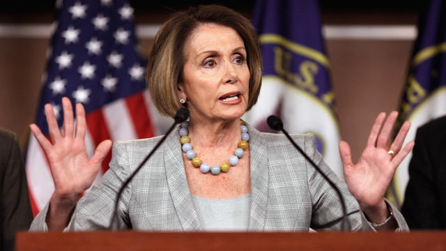 PHOTO: House Minority Leader Rep. Nancy Pelosi (D-CA) talks to reporters during her weekly news conference at the U.S. Capitol Visitors Center in this June 16, 2011 file photo in Washington, DC.